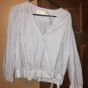 MADEWELL Blue Stripe Wrap Top